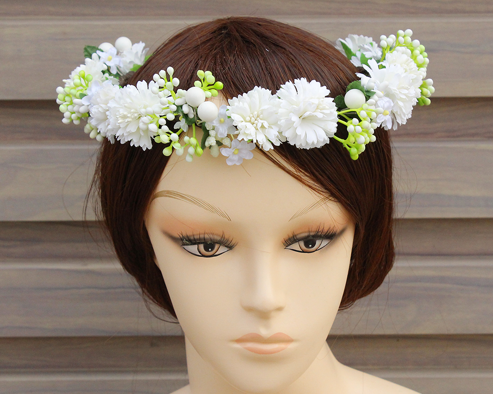 White Flower Rose Halo Crown Headband Girls Garland Headwear Hair