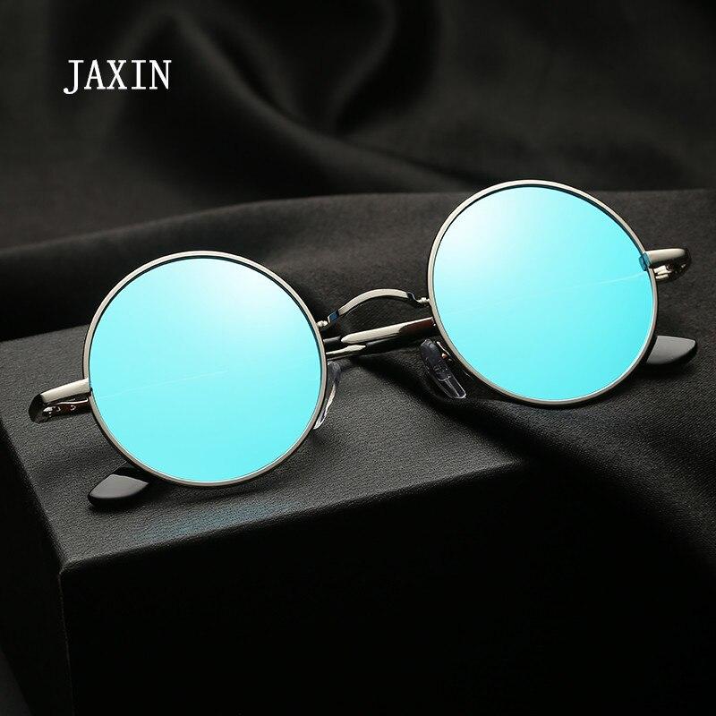 Jaxin polarizado redondo óculos de sol masculino clássico preto selvagem mr personalidade moda metal quadro espelho ao ar livre goggl uv400
