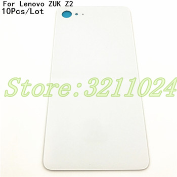 10Pcs/Lot Glass Battery Back Cover With Logo For Lenovo ZUK Z2 housing Back Door Cover Cases+Adhesive Strips black white