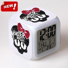 monster high alarm clock led light 7 color change cool gadgets reloj desk car square digital