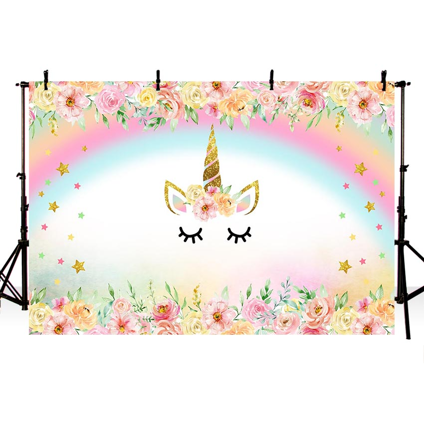 MEHOFOTO Unicorn Party Flower Birthday Baby Newborn Photography Backgrounds Customized Photographic Backdrops For Photo Studio 5 6 5ft custom backgrounds photography backdrops cake colorful cute birthday photography backgrounds digital printing backdrops