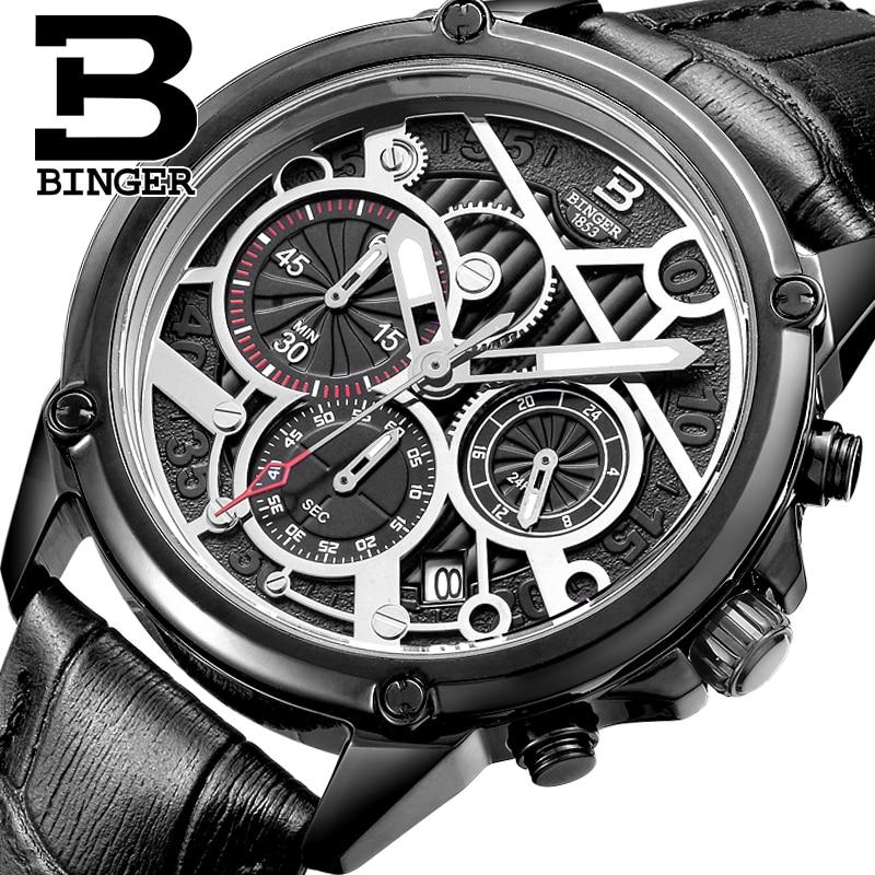 Switzerland men s watch luxury brand clock BINGER Quartz men watches Genuine Leather Chronograph Diver glowwatch