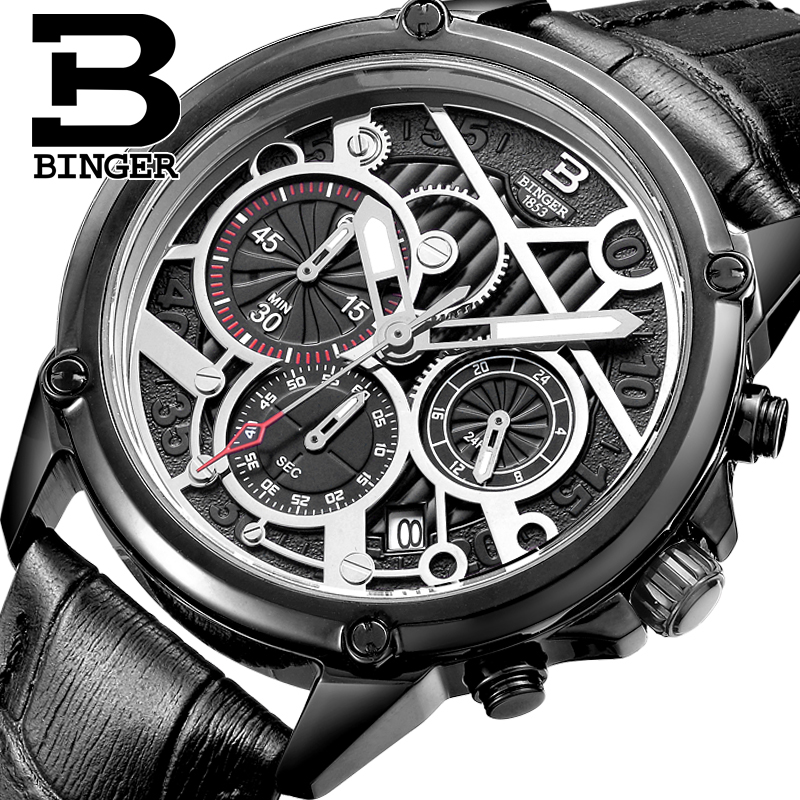 Svizzera degli uomini orologio di lusso di marca orologio BINGER orologi Al Quarzo da uomo Genuino di Cuoio Cronografo Diver glowwatch B 6008 6-in Orologi al quarzo da Orologi da polso su  Gruppo 1
