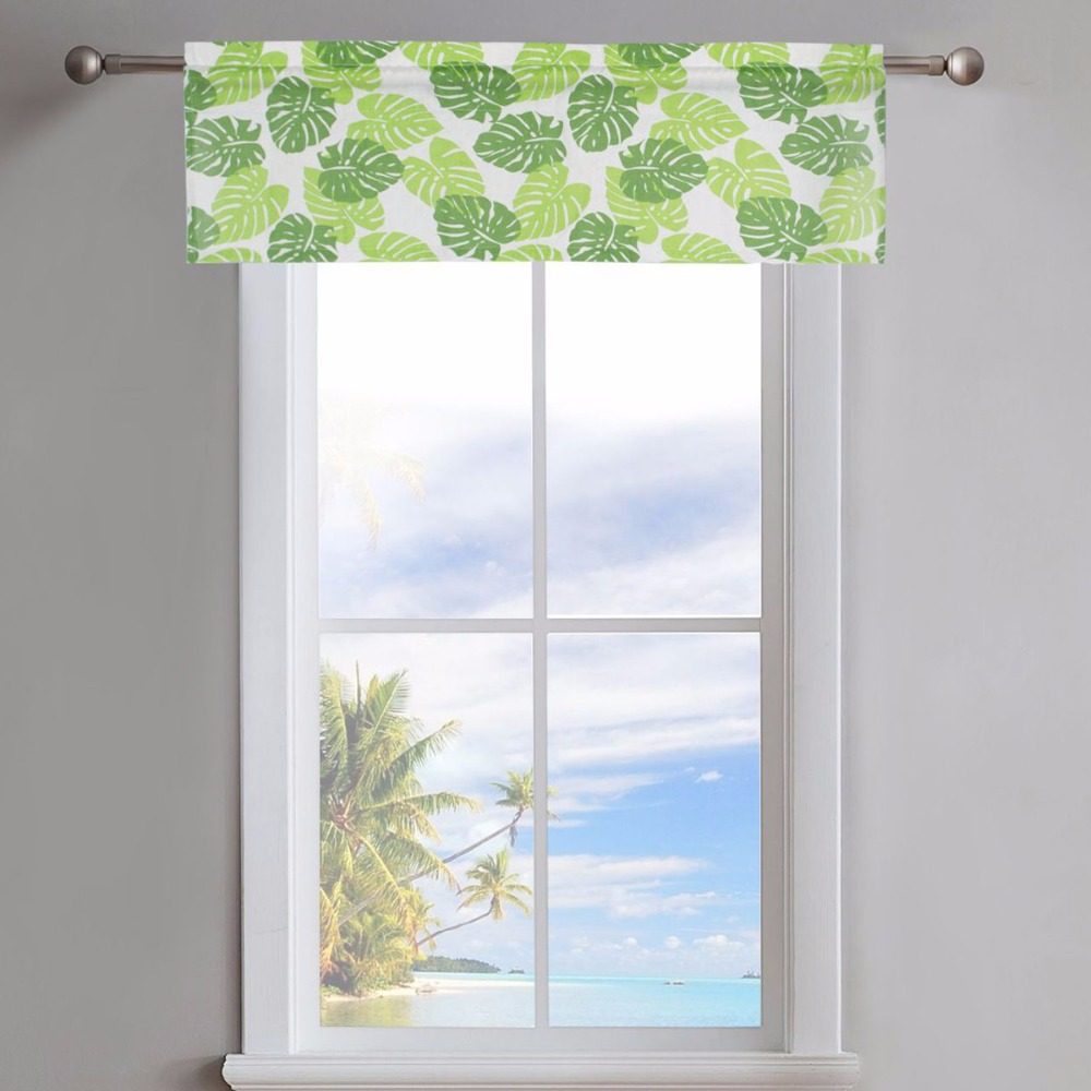 American Pastoral Kitchen Curtain Ready Made Half Curtains 3d Printing Green Leaves Short Valance For Window Decor Dl024d4 Home & Garden Curtains
