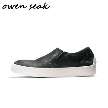 Owen Seak Men Casual Loafers Shoes Cow Genuine Leather Luxury Trainers Summer Casual Man Flats Shoes Spring Sneakers