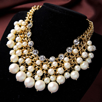 2015 Brand Daisy Pave Multi Layer Necklace Gold Faux Pearl Cluster Collar Necklace FD008