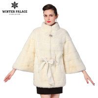 The best seller of natural mink fur coats White mink fur coat is a bat model with long detachable sleeves Fur collar and hood