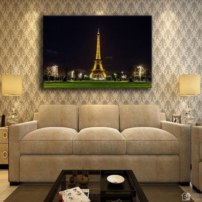Eiffel tower painting on canvas print type home decorative - What type of paint for living room walls ...