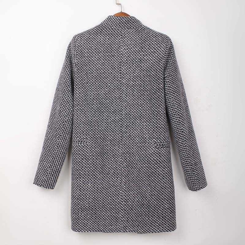 ホットファッション女性ウールブレンド女性ターンダウン襟長袖ジャケット生き抜くプラスサイズ YF71
