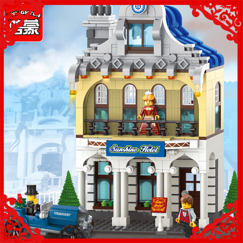 ENLIGHTEN 1127 City Series Sunshine Hotel Building Block 455Pcs DIY Educational  Toys For Children Compatible Legoe jie star fire ladder truck 3 kinds deformations city fire series building block toys for children diy assembled block toy 22024
