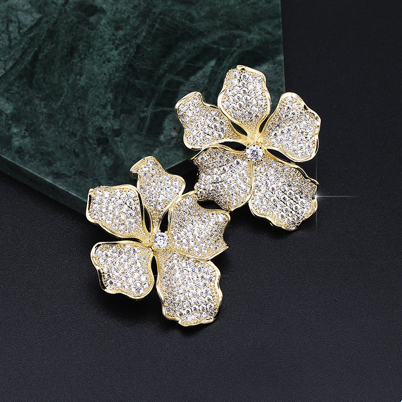 XIUMEIYIZU Fashion Gold/Silver Plated Micro Pave Cubic Zirconia Earring Flower Design Large Stud Earrings pair of zircon gold plated stud earrings
