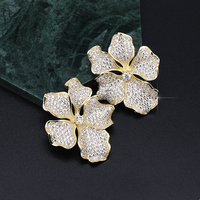 XIUMEIYIZU Fashion Gold/Silver Plated Micro Pave Cubic Zirconia Earring Flower Design Large Stud Earrings