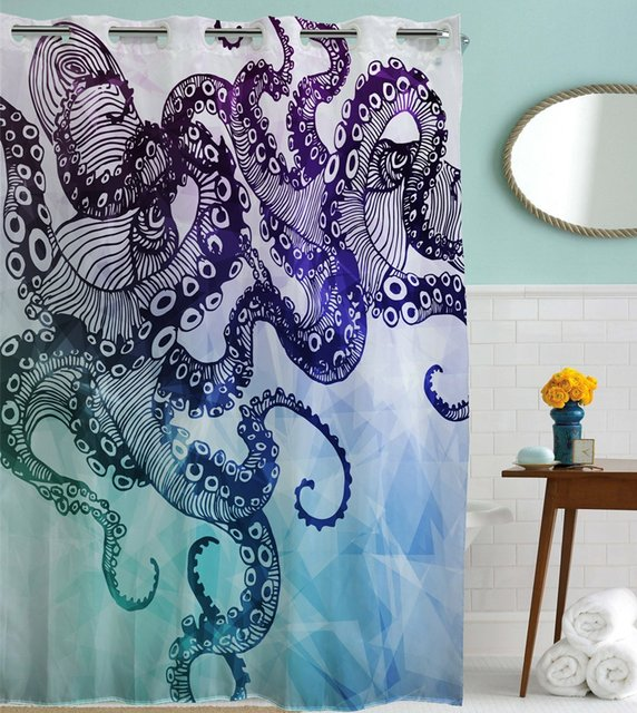 Goodbath Hookless Shower Curtain Ocean Kraken Octopus Hipster Pattern Mold Free And Waterproof Fabric Bathroom