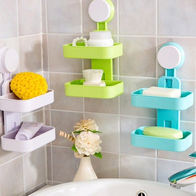 WHISM Plastic Double Layers Suction Cup Soap Holder Wall Mount Sponge Soap Jewelry Storage Basket Kitchen Bathroom Accessories