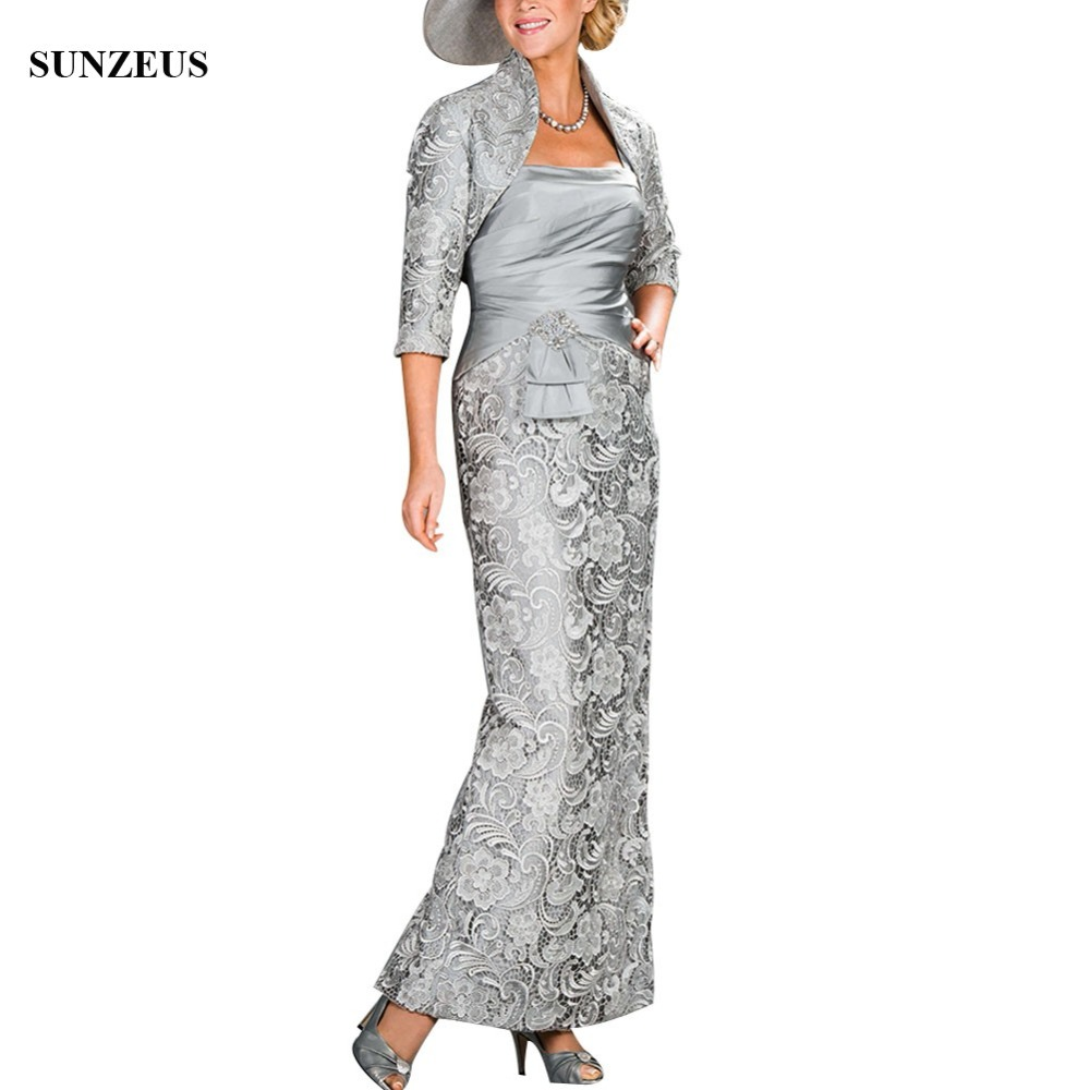 Long Lace Mother Of The Bride Dresses 2018 With Lace Jacket Elegant Lady Outfit Vintage Gray Wedding Party Gowns Wear CM0155