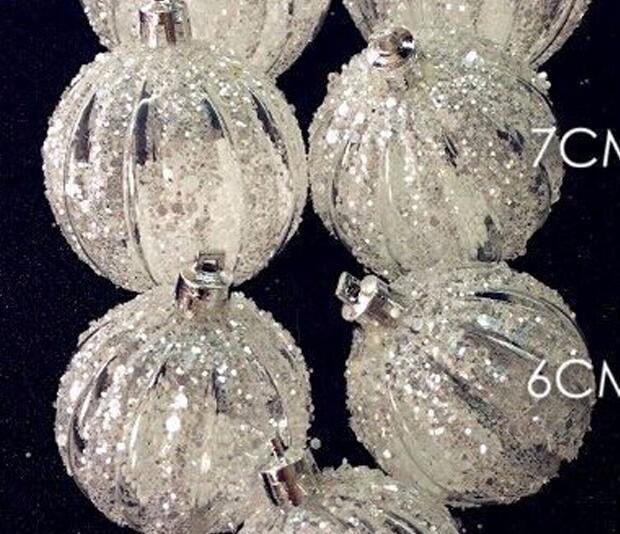 6pcs Christmas Ornaments Window Decorated Acrylic Sequins Decorative Ball Diamond Powder Foam Particles High - End Pendant