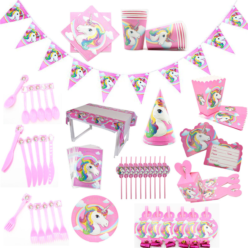 Unicorn Party Favor Sets For Girl/'s Birthday Decoration PINK FREE SHIPPING