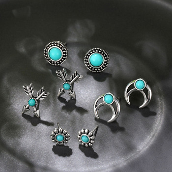 Boho Arrow Cross Moon Flower Gem Silver Women Punk Stud Earrings Set 1