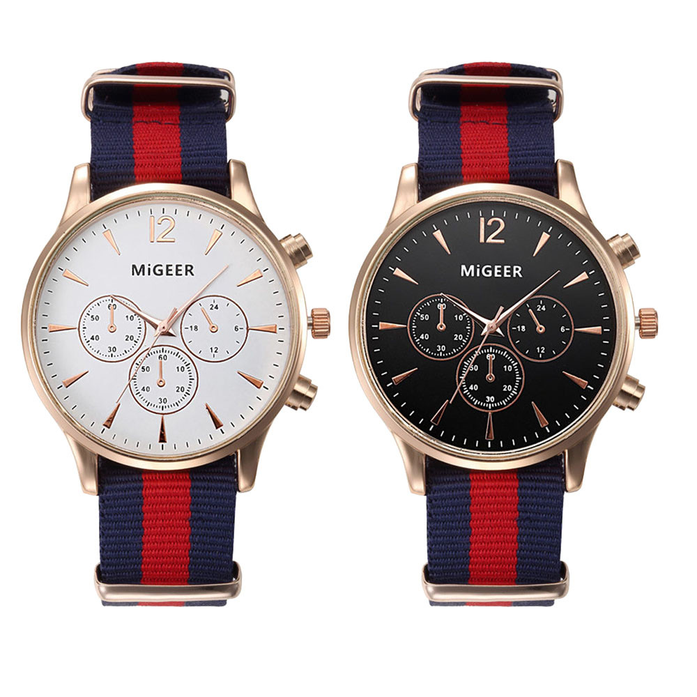 MiGEER Canvas Mens Watches Top Brand Luxury Analog Quartz Watch for man Big Dial 3 Eyes Mens Watch Nice Relogio Masculino migeer relogio masculino mens watches top brand luxury crystal stainless steel watches analog quartz wrist watch wholesale