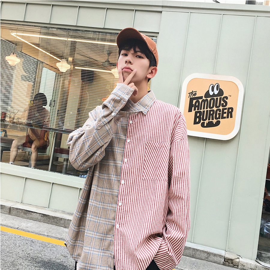 Korean Streetwear Striped Shirt Men Patchwork Social Plaid Long Sleeve Casual Shirt Cotton Mens Clothing Japanese Shirts Men