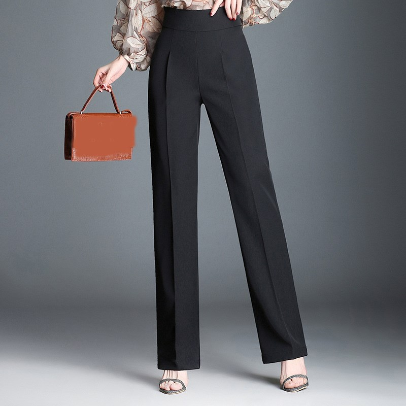 New 2019 Summer Fashion Women Ol High Waist Slim   Pants   Plus Size Solid Color   Wide     Leg     Pants   Loose Zippers Straight Trousers