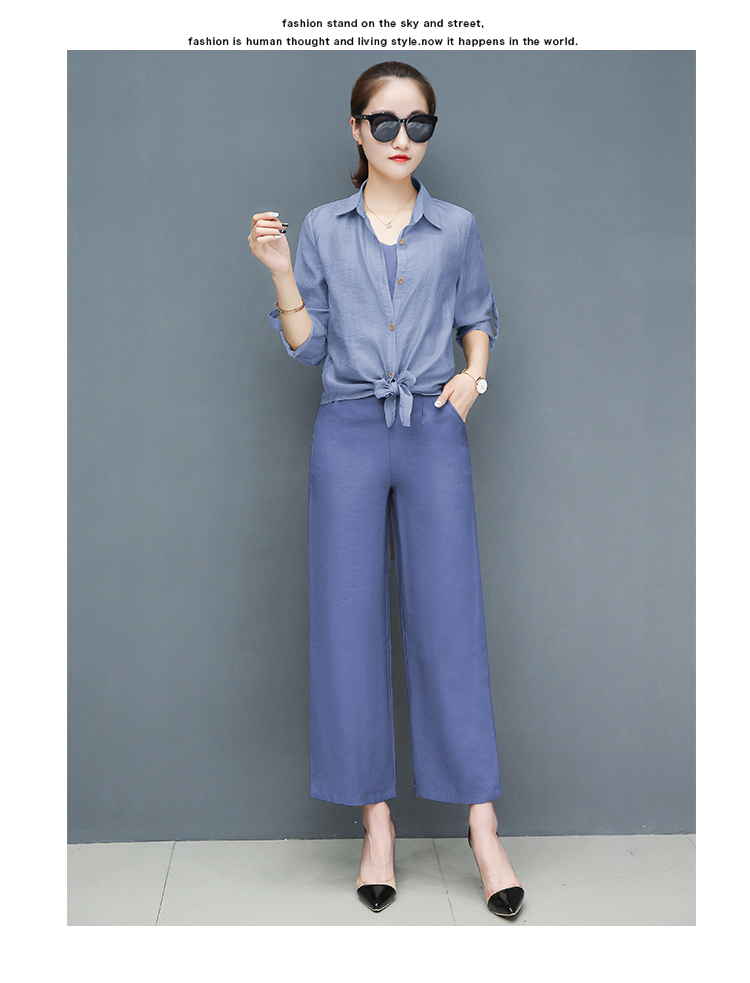 2019 Spring summer women sets office lady elegant chiffon blouse shirts+female wide leg pants trousers pantalon two piece sets 20