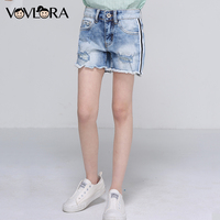 Denim Shorts Girls Side Stripe Ripped Hole Summer Shorts Kids Packet Burr Solid Clothes Casual 2018
