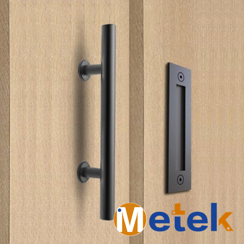 Barn Door Handle Black Sliding Door Knobs Modern Stainless Steel