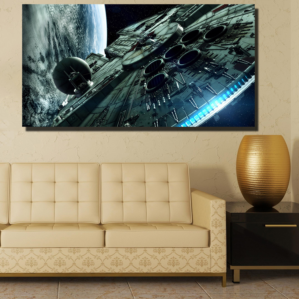 QKART Photo Pictures Modern Canvas Spaceship Wall Pictures for ...