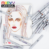 12/24/36 Marvy Soft Brush Art Marker Skin Colors LE PLUME PERMANENT Manga Comic Marker Pens Set For Drawing Design Made In Japan