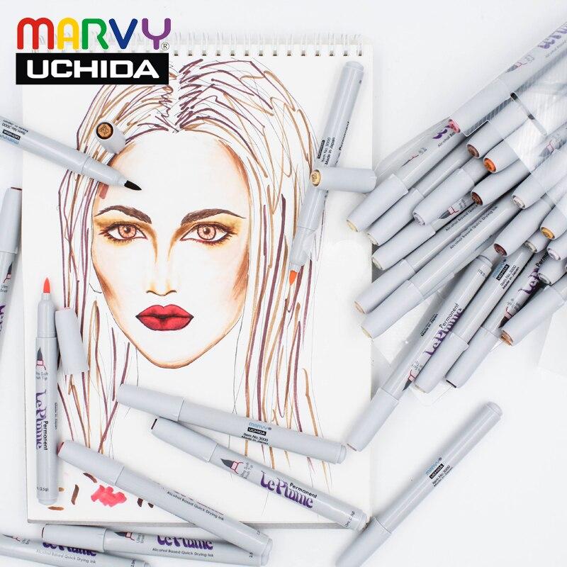 12/24/36 Marvy pinceau doux Art marqueur couleurs de peau LE PLUME PERMANENT Manga marqueur de bande dessinée stylos ensemble pour dessin Design fabriqué au japon