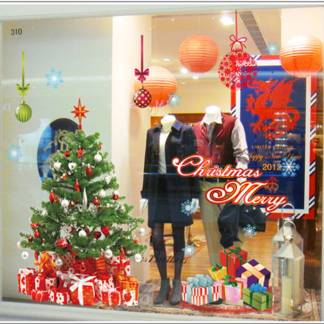 Santa Claus Christmas Tree Festive Shop Window Stickers Glass Door  Decorations Stickers Home Decoration Sticks Classic