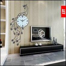 Luminousness pavo real del diamante reloj de pared moderno breve grandes relojes reloj de cuarzo mudo y reloj