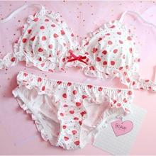 Strawberry / Flowers Print Japanese Milk Silk Bra & Panties Set Wirefree Soft Underwear Intimates Set Kawaii Lolita