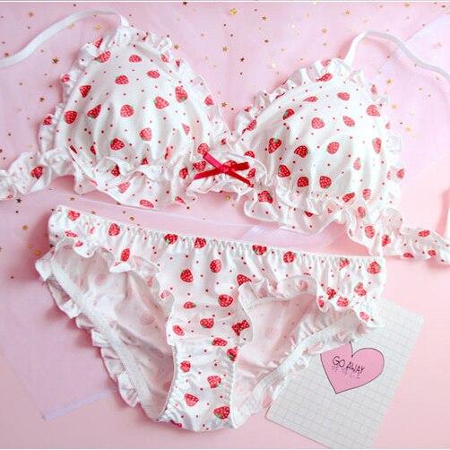 Strawberry / Flowers Print Japanese Milk Silk Bra & Panties Set ...