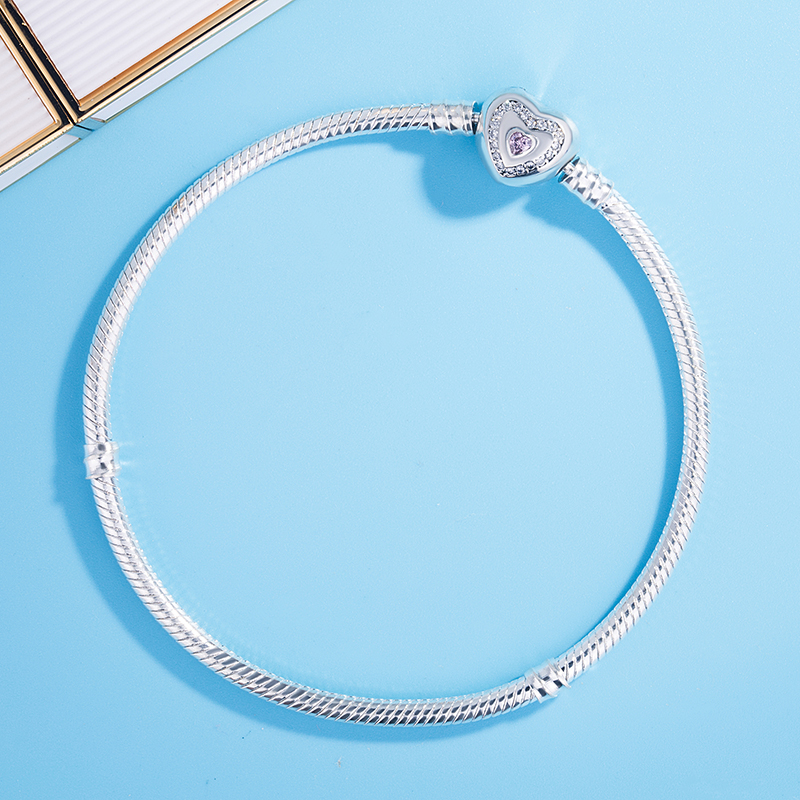 925 Sterling Silver Pink Crystal Wishful Heart Moments Snake Chain Pandora Bracelet Bangle Fit Women Bead Charm Jewelry
