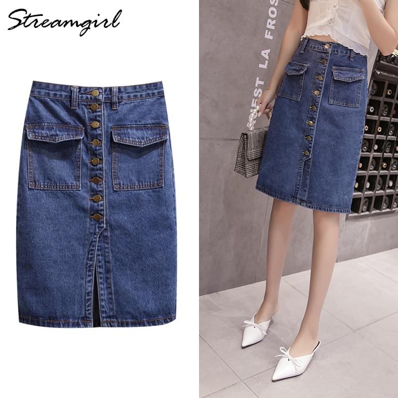 Womens Denim Button Skirt Midi Plus Size High Waist A Line Skirt Knee Length Jeans Skirts Summer Women's A-line Skirts For Women