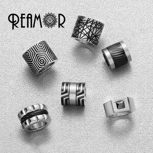 Image 4 - Мужской винтажный браслет REAMOR, серый плетеный браслет из натуральной кожи черного цвета, браслеты манжеты из нержавеющей стали, мужские украшения в подарок