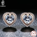 Gift 925 Sterling Silver One Love Stud Earrings Rose Gold & Clear CZ Earrings Compatible with VRC Women Fashion Jewelry S473