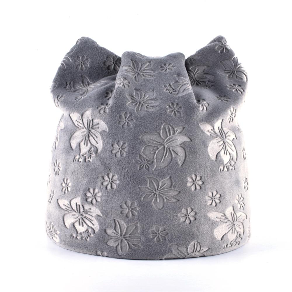 Cat Ears Flower Print Beanie