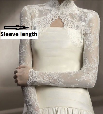 84afc0095fa09 free shipping 2016 White Hot sale long sleeves ivory high neck lace wedding  jacket bridal bolero