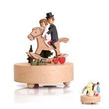 Caja de música con diseño de carrusel, Base de madera, caja de música Retro, decoración del hogar, caja de regalo para cumpleaños