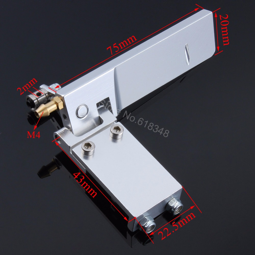 Aluminum RC Model Boat Water Rudder 75mm Long with Pickup Suction Inlet For Remote Control Model Parts CNC cnc aluminum water cooling jacket for 29cc zenoah engine rc boat