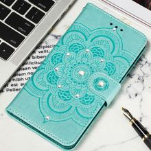 Luxury Bling Glitter Phone Bags sFor Xiaomi 6X A2 8 Lite 9SE Redmi Go 6A 7 Note 6 Pro Leather Lady Covers Datura Embossing P13H