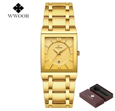 WWOOR Для мужчин s часы от топ бренда, роскошные золотые площади аналоговые кварцевые часы Для Мужчин's золотые наручные часы Водонепроницаемый