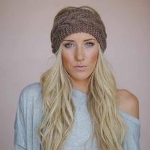 00156355339 Winter Warmer Ear Knitted Headband Turban For Lady Women Crochet Bow Wide  Stretch Hairband Headwrap Hair