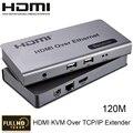 HDMI KVM Over TCP/IP Extender До 120 м CAT5e/6 Кабель Подключите Приемник Передатчик для HDTV 1080 P HDMI 1.3/HDCP1.1 & 1.2