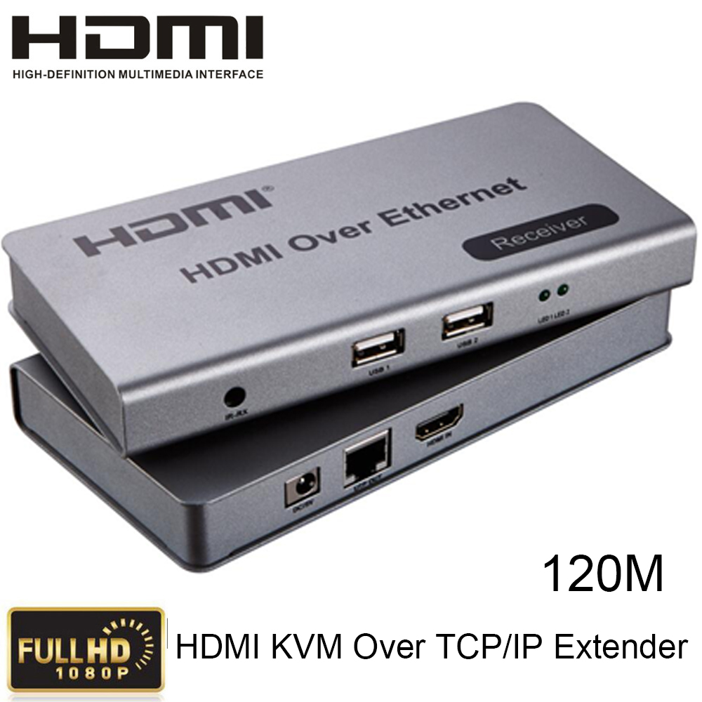 HDMI KVM Over TCP/IP Extender Up To 120m CAT5e/6 Cable Connect Receiver Transmitter to HDTV 1080P HDMI 1.3/HDCP1.1&1.2