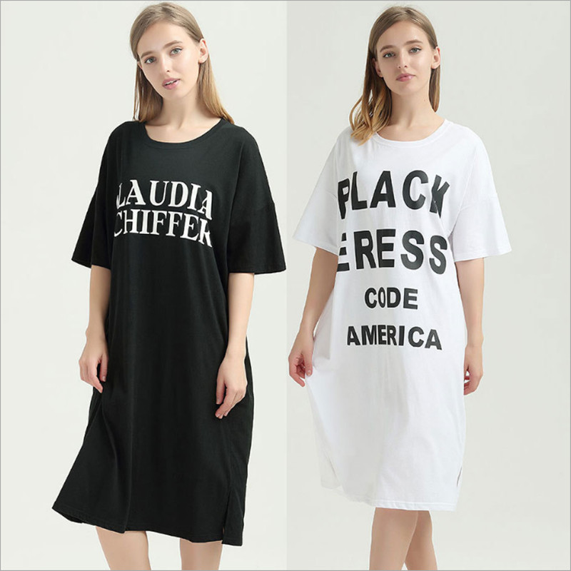 New plus size women nightgowns wellmade causal designed cotton white black color with letters ptinted sleep dress for ladies