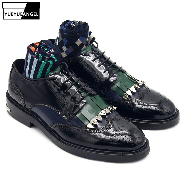 2019 New Brogues Genuine Leather Shoes Men Carved Tassel Metal Derby Shoes British Style Party Pointed Toe Flat Shoes Plus Size2019 New Brogues Genuine Leather Shoes Men Carved Tassel Metal Derby Shoes British Style Party Pointed Toe Flat Shoes Plus Size
